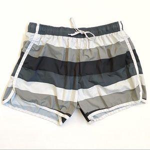 Athleta gray white stripe drawstring waist shorts